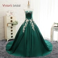 New Arrival Elegant Green Strapless Ball Gown Court Train Evening Dresses Stain Party Dresses