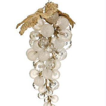 Christmas Ornament - White Faux Crystal Grape Cluster