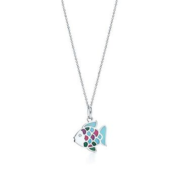 Tiffany & Co. -  Rainbow fish charm in 18k white gold with a diamond on a chain.