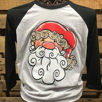 Southern Chics Christmas Santa Claus Raglan Canvas Girlie 3/4 Long Sleeve T Shirt