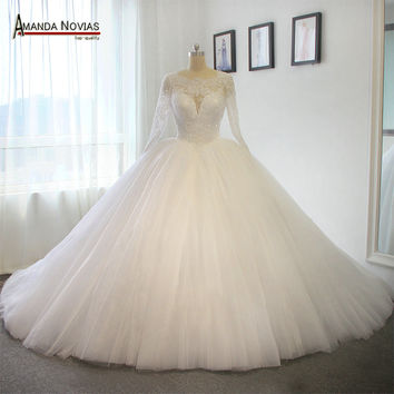 Long Train Wedding Dress Luxury Puffy Ball Gown Princess Wedding Dress Train 100cm