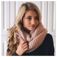 """Your New Favorite"" Cozy Warm Ribbed Knit Dusty Pink Infinity Scarf"