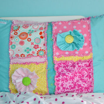 Standard Pillow Sham With Ruffled Flowers in Hot Pink, Turquoise, and Yellow.  Rag Quilt Style, Custom, Made to Order