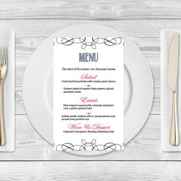 Wedding Menu Template- Navy Blue Swirls Printable Wedding Menu Card Templates - Editable PDF Templates - Instant Download - DIY You Print