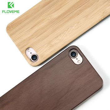 FLOVEME Wooden Case For Samsung Galaxy S8 S6 S7 Edge Natural Bamboo Protective Cover For iPhone 7 6 6S Plus Phone Cases