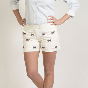 Sailing Short White with American Flag Bow