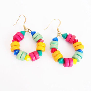 Colorful wood earrings , red yellow mint wood , Nickel Free