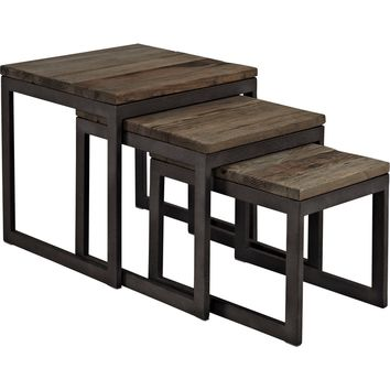 Covert Wood Top Nesting Table Brown Pine & Metal