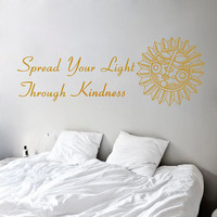 Wall Decals Buddha Quote Spread Your Light Through Kindness Home Vinyl Decal Sticker Kids Nursery Baby Room Decor kk409