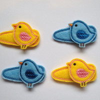 Sweet Birdie Felt Snap Hair Clip Barrettes Yellow or Blue