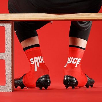 The Sauce Spell Out Red Spats / Cleat Covers