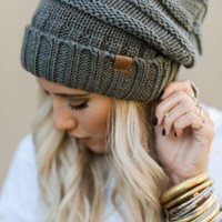 Knitted Fold Over Beanie - Gray