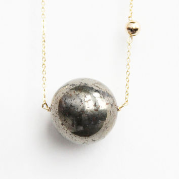 Sidekick Huge Pyrite Sun and Earth Necklace