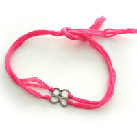 Dainty two friendship bracelets antique silver infinity neon pink floss hippie bohemian indie hipster celebrity designer inspired summer 14