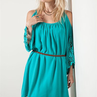 Jewel Tone Tunic Dress - Teal