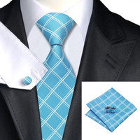 Silk Plaid Necktie Suit Set for Men
