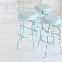 Pair of Vintage Diner Stools, Pale Blue