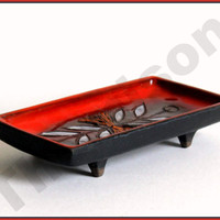 mid century modernist tray, studio pottery by Oswald Tieberghien, 1950s.