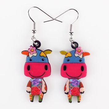 Drop Cute Cow Earrings Acrylic Big Long Danlge Earrings Charm Animal New Fashion Jewelry For Women Accessories