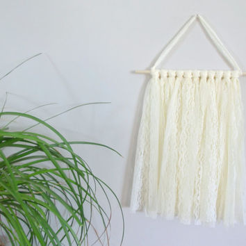 Cream Lace Wall Hanging Shabby Chic Nursery Decor Baby Girl Nursery Boho Nursery Boho Chic Home Decor Bohemian Nursery Wall Hanging