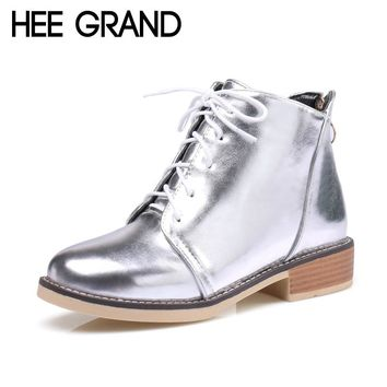 HEE GRAND Silver Gold Boots 2017 Women Lace up Ankle Boots Platform Shoes Woman Slip On Creepers Casual Flats XWX6224