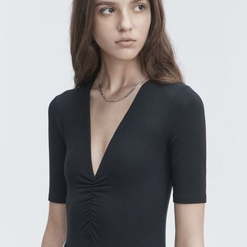 Alexander Wang EXCLUSIVE SHIRRED SHORT SLEEVE BODYSUIT TOP | Official Site