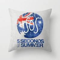 5 Seconds of Summer Flag Throw Pillow by dan ron eli