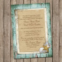 Beach Wedding Invitation, Bridal shower, Rustic, Shell, Sand dollar, Starfish,Pearl, Digital file, Printable