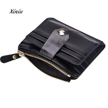 Men Business Blocking Short Leather Wallet Card Holder Purse With Coin Pocket High Quality Brand Wallet Coin Purse For Women
