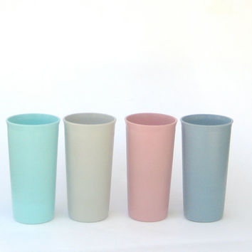 Set of Pastel Tupperware Tumblers by DipperVintage on Etsy