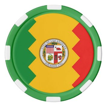 Patriotic poker chips with Flag of Los Angeles