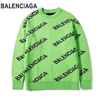 BALENCIAGA Autumn Winter Women Men Casual Print Knit Sweater Sweatshirt Green