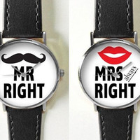 Couple's Watch , Mr. Right and Mrs. Always Right,  Women Watches,  Men's Watch, Leather Watch,  Boyfriend Watch, Ladies Watch, Gold Silver