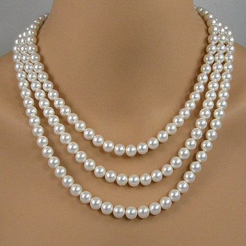 White Pearl Three Strand Bridal Necklace, Pearl Wedding Necklace