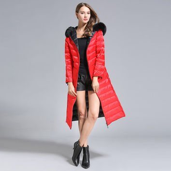 High Quality Fashion Down Jackets Hooded Black / Pink / Red / White Classic 2017 Winter Warm Long Women  Jacket