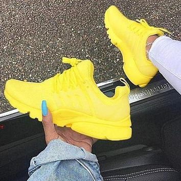NIKE Air Presto Fashion Women Men Casual Breathable Running Sport Shoes Sneakers Yellow