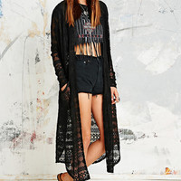 Textured Mesh Maxi Cardigan in Black - Urban Outfitters