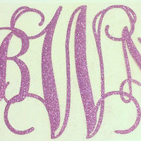 Monogram Vine Initials Heat Transfer GLITTER I cut it/You Iron it on! FREE SHIP