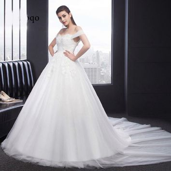 Off Shoulder A line Wedding Dress Tulle Court Train Bridal Gown Wedding Gowns Formal Gown