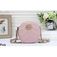 GUCCI tide brand female wave pattern round chain bag shoulder diagonal package pink