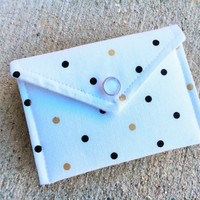 Business Card Holder - Black and Metallic Gold Dots Polka on white