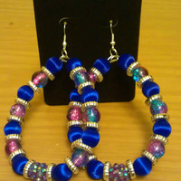 Love and Hip Hop and Basketball wives inspired earring with blue and pink beads