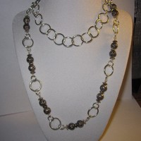 Silver Rose Bead Necklace Unique Gifts Long Chain Flowers Rose Buds Chic Fashion Jewelry