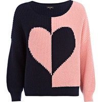 River Island Womens Navy rib color block heart sweater