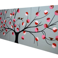 """ARTFINDER: triptych 3 panel wall art cute birds """" Birds of Reflection v2  """" tree of life cute 3 panel canvas wall abstract canvas 60 x 28"""" by Stuart Wright - """" Birds of Reflection """" a triptych 3 panel pain..."""