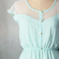 PETIT DEJEUNER in SPEARMINT - Soft mint chiffon dress with ivory lace inset // bridesmaid dress // woodland // romantic // day // party