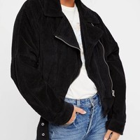 Black Lapel Zip Front Buckle Detail Corduroy Jacket