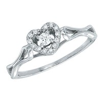 Diamond Heart Fashion Ring 1/10ctw - Size 9