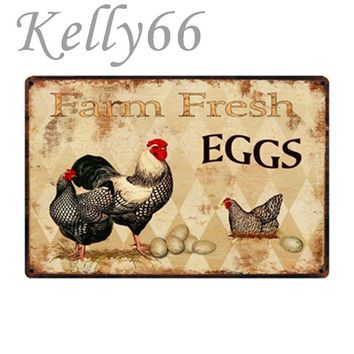 [ Kelly66 ] Farm Fresh EGGS Vintage Metal Sign Tin Poster Home Decor Bar Wall Art Painting 20*30 CM Size y-1031