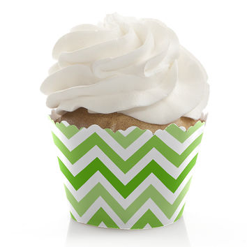 Chevron Green - Baby Shower Cupcake Wrappers